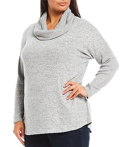 Bobeau Plus Size Cowl Neck Cozy Long Sleeve Cozy Top