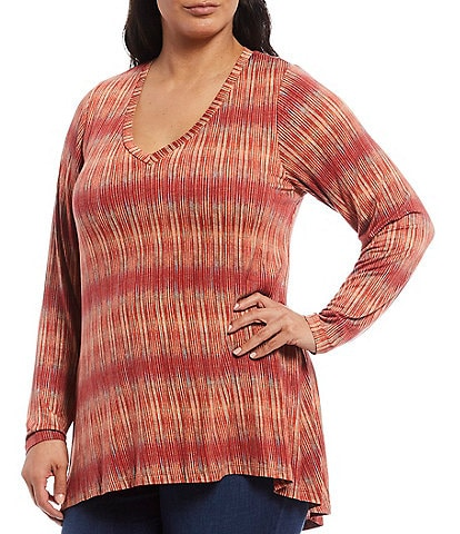 Bobeau Plus Size Rust Stripe Print V-Neck Pleat Back Hi-Low Hem Top