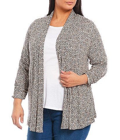 Bobeau Plus Size Taupe Animal Print Shawl Collar Open Front Cardigan