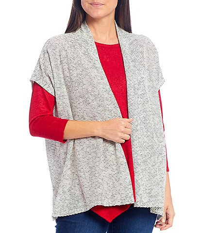 Bobeau Textured Stripe Short Sleeve Hi-Low Open Front Cardigan