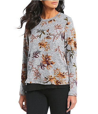 Bobeau Tie Back Tropical Floral Print Long Sleeve Two-Fer Top