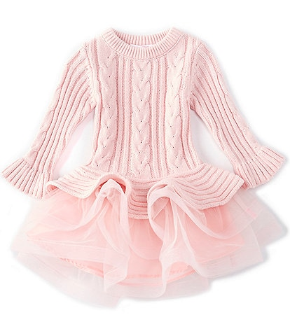 Bonnie Baby Baby Girls 12-24 Months Bell-Sleeve Cable-Knit/Mesh Tutu Dress