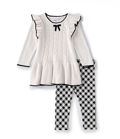 Bonnie Baby Baby Girls 12-24 Months Long-Sleeve Cable-Knit Sweater Dress & Checked Leggings Set