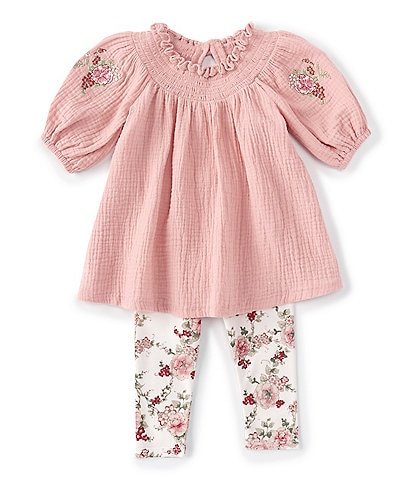 Bonnie Jean Baby Girls Newborn- 24 Months Embroidered-Sleeve Smocked Tunic & Floral Leggings Set