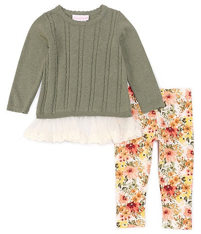 Bonnie Jean Baby Girls 12-24 Long-Sleeve Cable Knit Sweater Top & Floral Print Leggings Set
