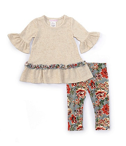 Bonnie Jean Baby Girls 12-24 Months Bell-Sleeve Knit Tunic & Floral Leggings Set
