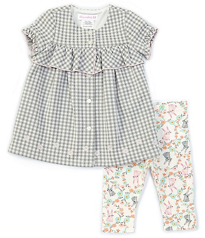 Bonnie Jean Baby Girls 12-24 Months Ruffle-Sleeve Gingham Blouse & Easter Bunny/Floral Leggings Set