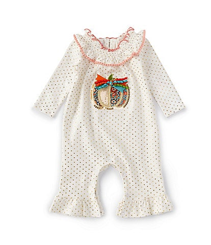 Bonnie Jean Baby Girls Newborn-24 Month Long-Sleeve Pumpkin Foiled-Dot Coverall