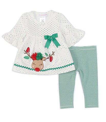 Bonnie Jean Baby Girls Newborn-24 Months 3-4 Sleeve Reindeer Foil Dot Blouse & Striped Legging 2-Piece Set