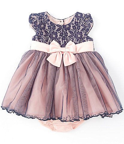 Bonnie Jean Baby Girls Newborn-24 Months Bonded-Lace/Mesh Fit-And-Flare Dress