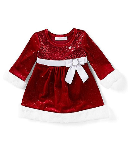 Bonnie Jean Baby Girls Newborn-24 Months Christmas Long Sleeve Velvet Santa Dress