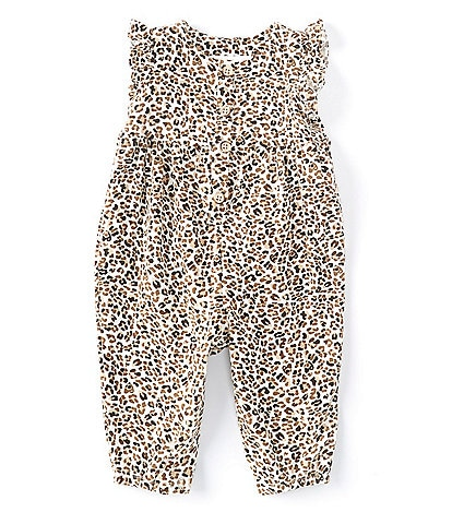 Bonnie Jean Baby Girls Newborn-24 Months Flutter-Sleeve Cheetah-Print Coverall