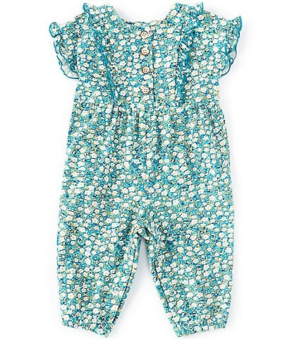 Bonnie Jean Baby Girls Newborn-24 Months Flutter-Sleeve Ditsy-Floral Button Detail Coverall