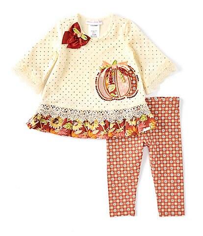 Bonnie Jean Baby Girls Newborn-24 Months Long-Sleeve Pumpkin Applique Tunic & Dotted Leggings Set