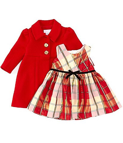 Bonnie Jean Baby Girls Newborn-24 Months Textured-Knit Coat & Metallic-Plaid Taffeta Fit-And-Flare Dress Set