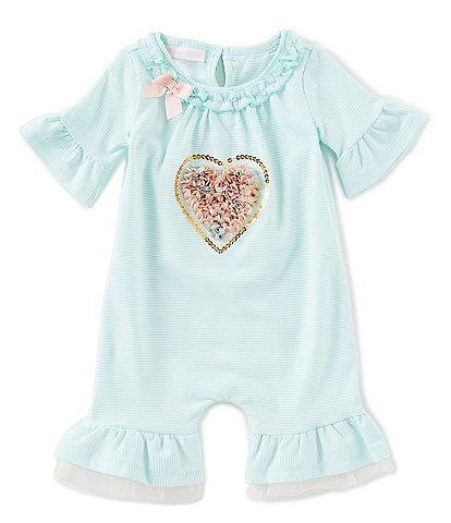 Bonnie Jean Baby Girls Newborn-9 Months Bell-Sleeve Valentine's Day Heart-Applique Coverall