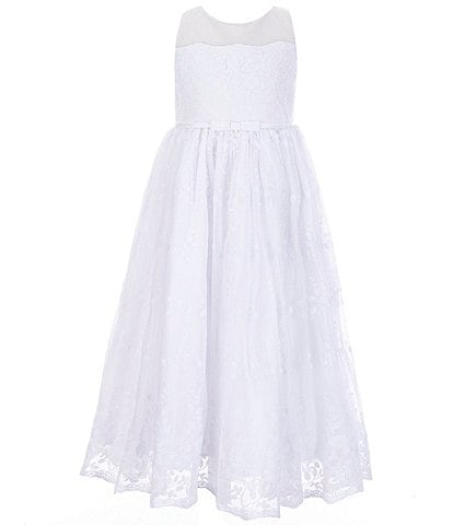 Bonnie Jean Big Girls 7-12 Illusion Embroidered-Organza Communion Dress