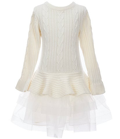 Bonnie Jean Big Girls 7-16 Bell-Sleeve Cable-Knit/Mesh Tutu Dress