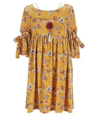 Bonnie Jean Big Girls 7-16 Bell-Sleeve Floral Fit-And-Flare Dress