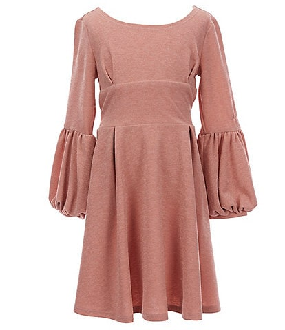 Bonnie Jean Big Girls 7-16 Bubble-Sleeve Sparkle-Knit Fit-And-Flare Dress