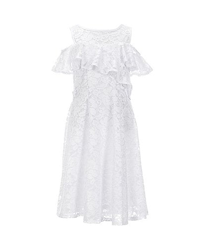 GUESS Girls Big Short Sleeve Lace Overlay Top