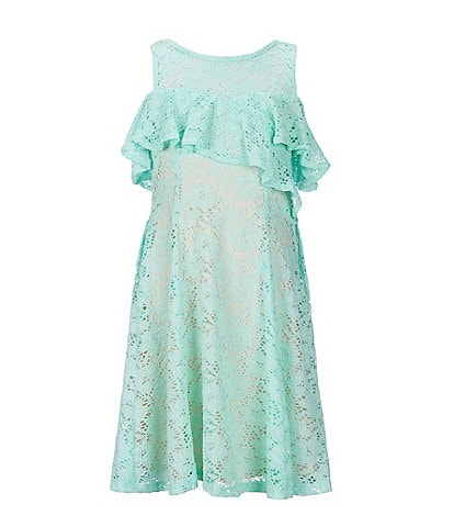 Bonnie Jean Big Girls 7-16 Cold-Shoulder Ruffle-Trim Lace Sheath Dress