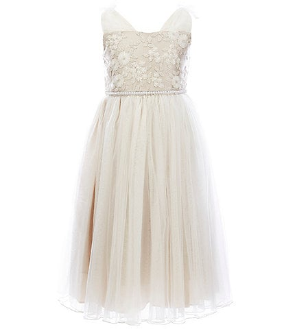 Bonnie Jean Big Girls 7-16 Embroidered/Sheer-Mesh Ballerina Dress