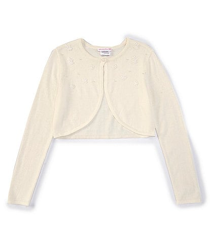 Bonnie Jean Big Girls 7-16 Faux-Pearl-Accented Sweater-Knit Cardigan