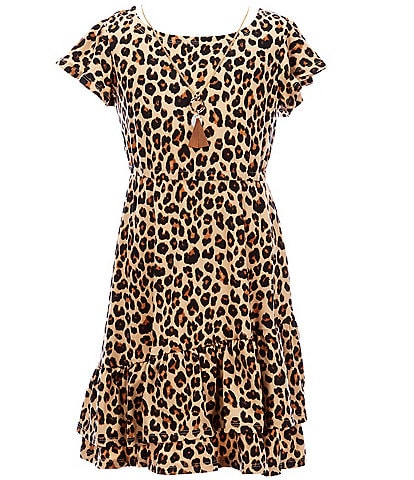 Bonnie Jean Big Girls 7-16 Flutter-Sleeve Animal-Printed Fit-And-Flare Dress
