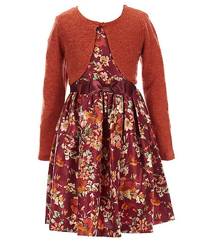 Bonnie Jean Big Girls 7-16 Hacci Cardigan & Sleeveless Floral-Printed Fit-And-Flare Dress Set
