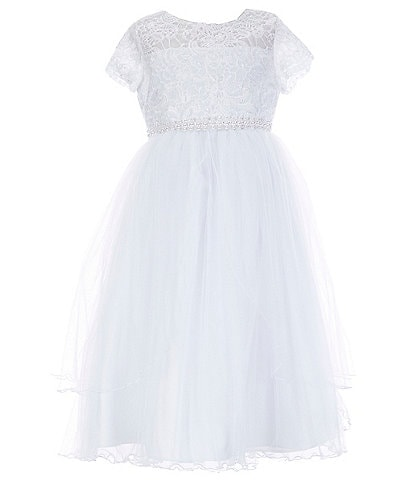Bonnie Jean Big Girls 7-16 Illusion Lace/Mesh-Overlay Ballgown