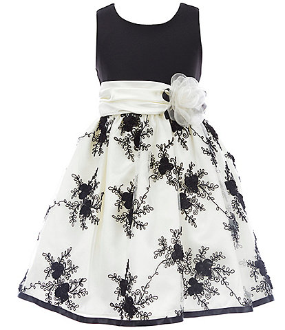 Bonnie Jean Big Girls 7-16 Knit/Embroidered Organza Fit-And-Flare Dress