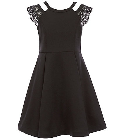 Bonnie Jean Big Girls 7-16 Lace-Insets Scuba Fit-And-Flare Dress