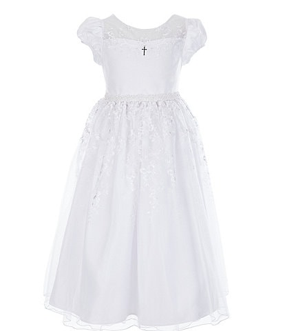Bonnie Jean Big Girls 7-16 Lace/Embroidered Long Communion Dress