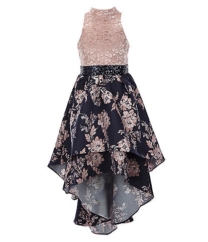 Bonnie Jean Big Girls 7-16 Lace/Floral Layered-Mikado Hi-Low Dress