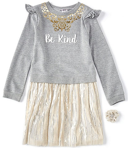 Bonnie Jean Big Girls 7-16 Long-Sleeve Be Kind Boudre Skirt Dress