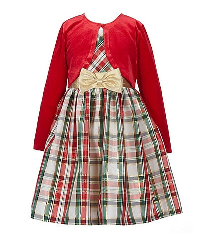 Bonnie Jean Big Girls 7-16 Long Sleeve Cardigan & Holiday Plaid Fit-And-Flare Dress Set