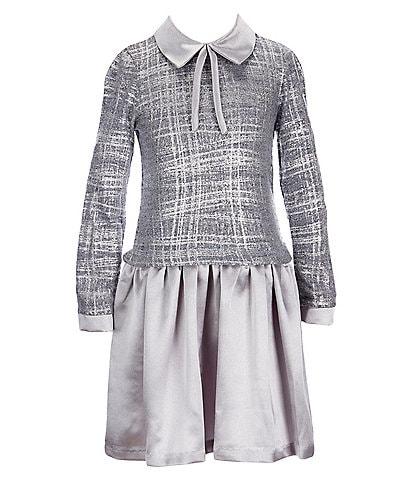Bonnie Jean Big Girls 7-16 Long-Sleeve Foiled-Knit/Hammered Satin Drop-Waist Dress