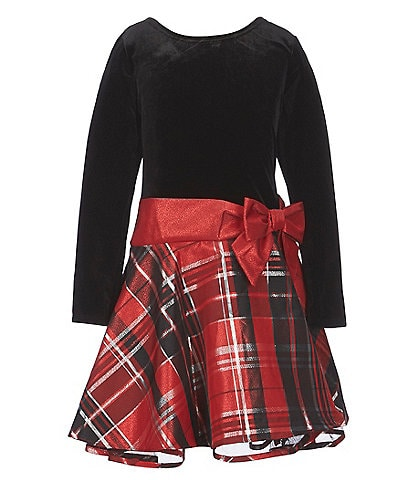 Bonnie Jean Big Girls 7-16 Long Sleeve Holiday Plaid Fit-And-Flare Dress