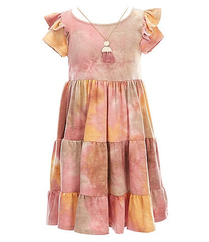 Bonnie Jean Big Girls 7-16 Ruffle-Shoulder Tie-Dye Tiered Knit Fit-And-Flare Dress