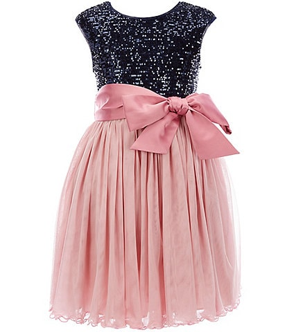 Bonnie Jean Big Girls 7-16 Sequin-Embellished/Mesh Fit-And-Flare Dress