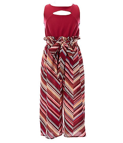 Bonnie Jean Big Girls 7-16 Solid/Chevron Paperbag-Waist Sleeveless Jumpsuit