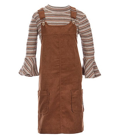 Bonnie Jean Big Girls 7-16 Striped Knit Top with Patch Cord Jumper Set
