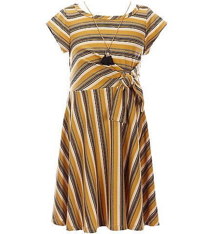 Bonnie Jean Big Girls 7-16 Tie-Front Cap Sleeve Striped Fit-And-Flare Dress