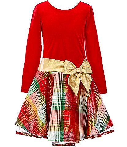 Bonnie Jean Big Girls 7-16 Satin-Bow Velvet/Holiday Plaid Dropwaist Dress