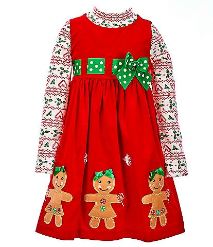 Bonnie Jean Little Girls 2T-6X Gingerbread Corduroy Jumper Dress & Long-Sleeve Printed Tee Set