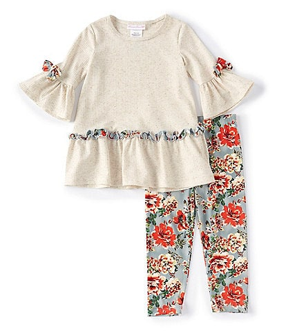 Bonnie Jean Little Girls 2T-6X Bell-Sleeve Knit Tunic & Floral Leggings Set