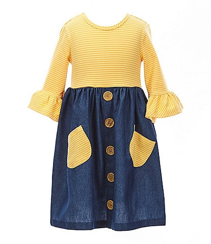 Bonnie Jean Little Girls 2T-6X Bell-Sleeve Striped Knit/Denim A-Line Dress