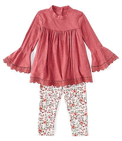 Bonnie Jean Little Girls 2T-6X Bell-Sleeve Trimmed Knit Top & Floral Printed Leggings Set