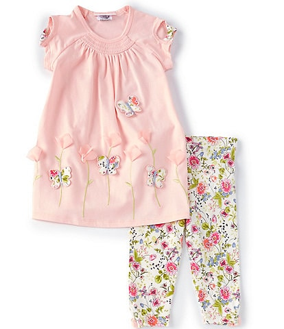 Bonnie Jean Little Girls 2T-6X Butterlfy/Flower-Appliqued Tunic Top & Floral Leggings Set